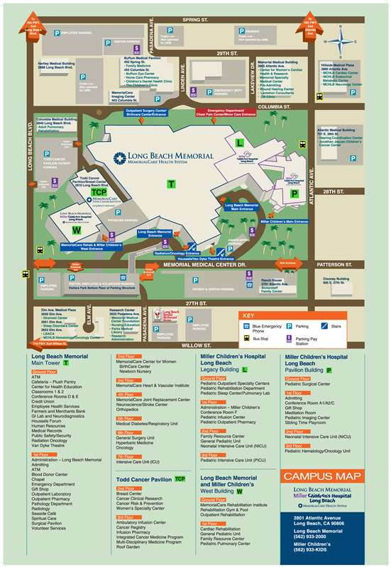 Miller Children's & Women's Hospital Long Beach | Campus Map on
